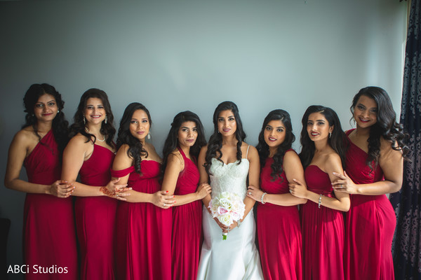 See this lovely Indian bride and bridesmaids ready for ceremony.