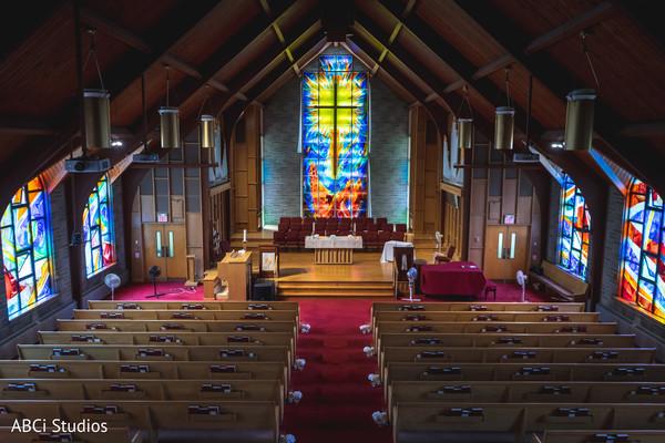 Marvelous Indian Christian wedding church decoration.