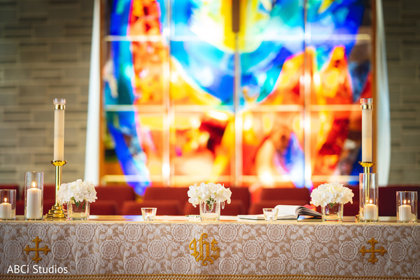 Incredible Indian christian altar flowers and candles decor.