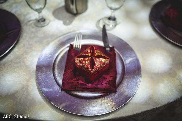 Closeup capture of Indian wedding reception favor.