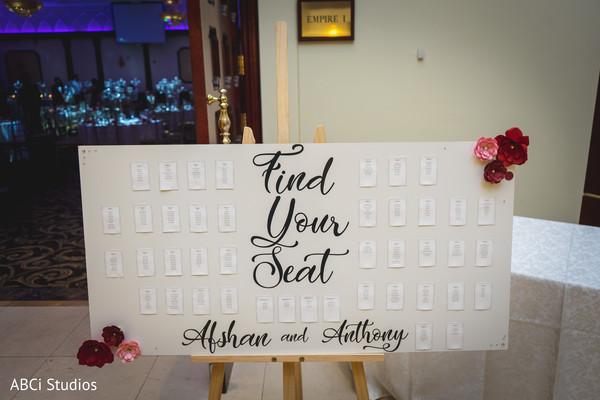 Elegant Indian wedding reception seat guide.