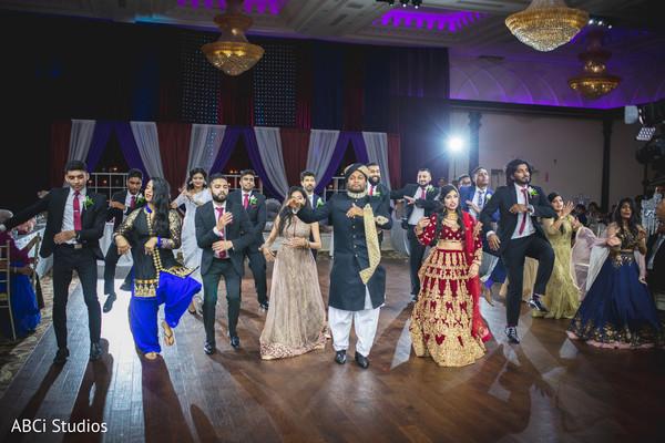 Splendid Indian wedding reception dance.