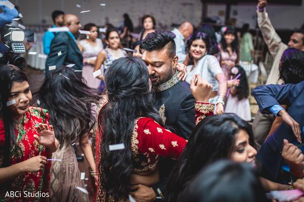 Romantic indian wedding reception dance capture.