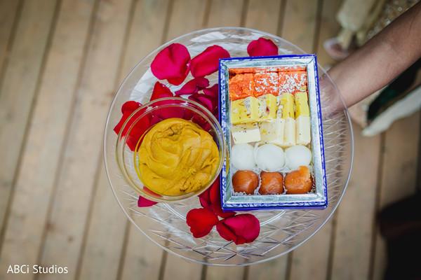 Closeup capture of the ritual items for the haldi ceremony.