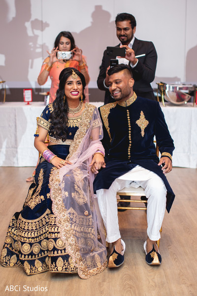 See this lovely Indian couple at their reception celebration.