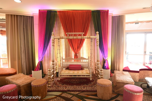 Magnificent Indian pre-wedding stage decoration.