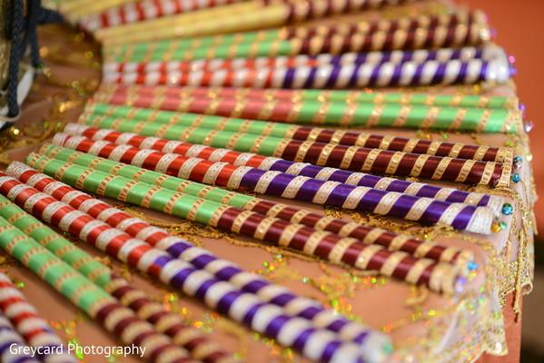 Closeup capture of sangeet's dandiya raas sticks.