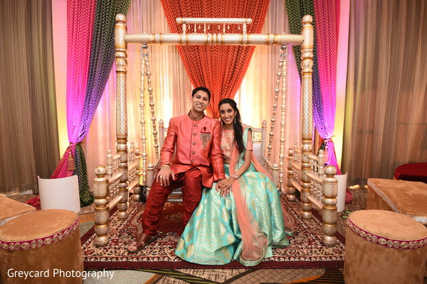Lovely Indian couple at their sangeet stage.