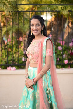 Enchanting Indian bride on her sangeet outfit.