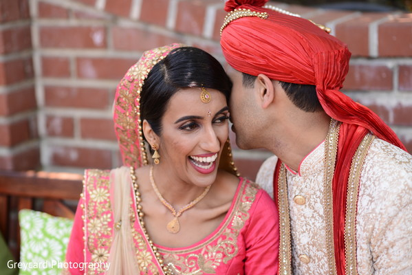 Cheerful Indian bride and groom photo shoot.