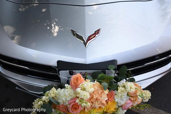 Wonderful Indian wedding vehicle flowers decor.