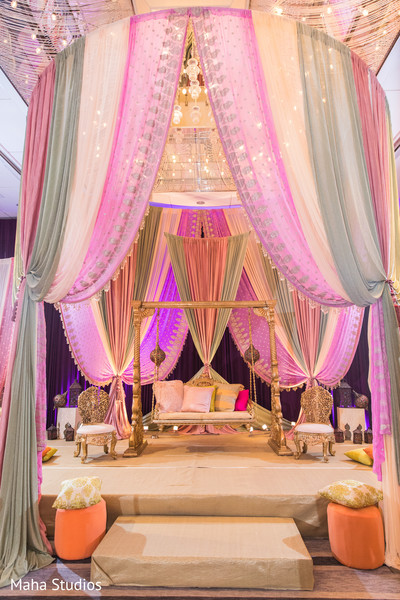 Dreamy sangeet stage decoration.