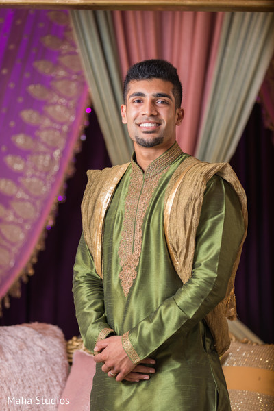 Charming Indian groom ready for his sangeet party.