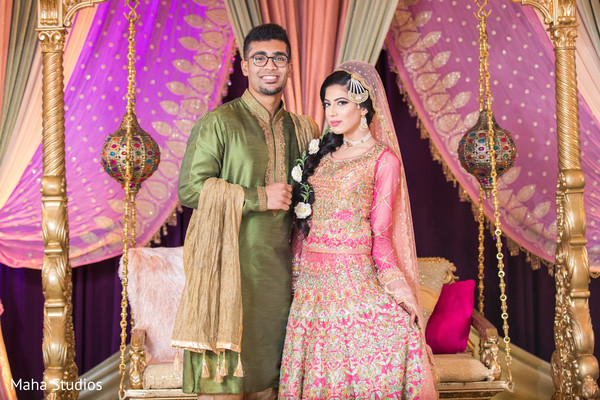 See this lovely Indian couple at their sangeet stage.