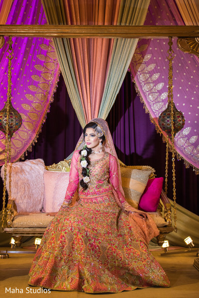 Charming Indian bride on her sangeet outfit capture.