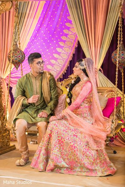 Dazzling Indian bride with groom capture.