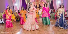 Maharani and bridesmaids at sangeet choreography.