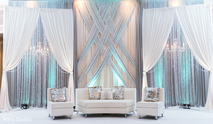 draping,indian wedding reception decor,stage decor