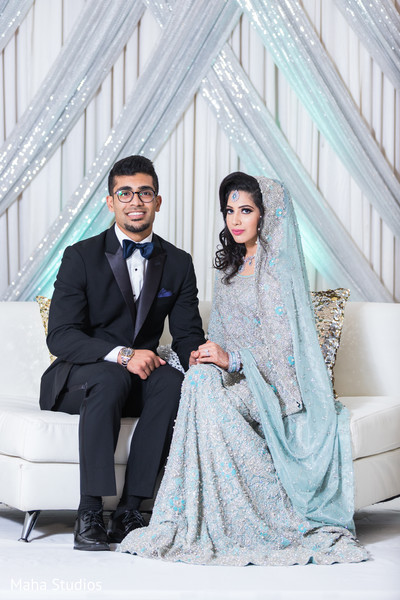 Glamorous Indian bride and groom reception style.