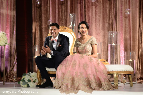 Charming Indian couple at their wedding reception.