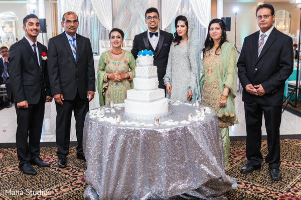 Indian couple with parents reception capture.