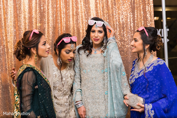 Indian bride with bridesmaids capture.