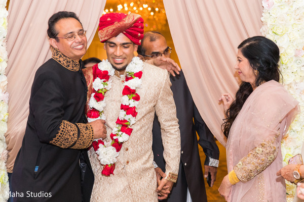 Charming Indian groom to ceremony.