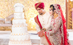 Lovely Indian couple cutting cake seen.