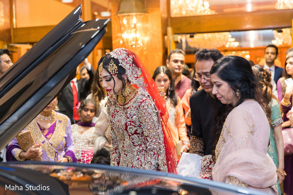 Special moment of Indian bride saying goodbye to her family.