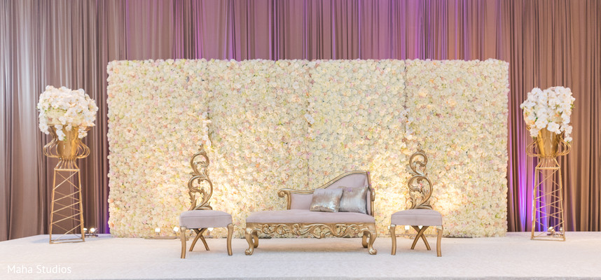 Indian wedding ceremony stage decor.