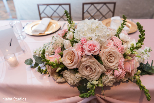 Dreamy Indian wedding table flowers decoration.