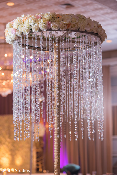 Wonderful floral  and crystals table decor.