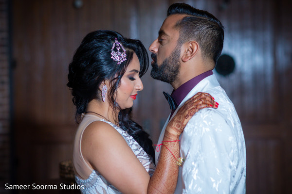 Indian bride and groom during pictures