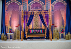 Colorful decor of the wedding stage