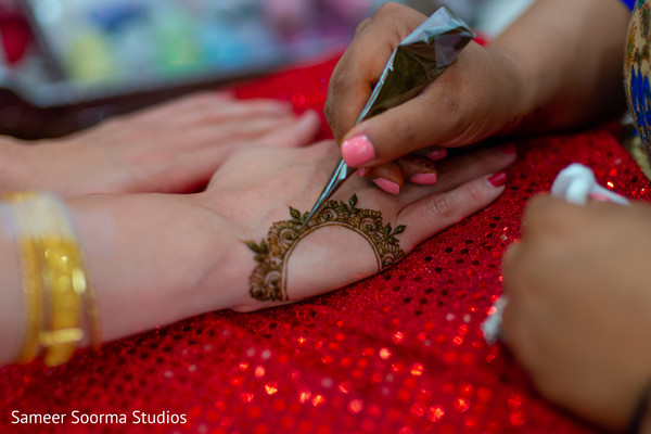 Artist assisting the Maharani with the mehndi