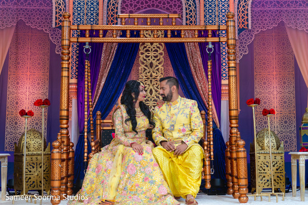 Elegant couple posing with the traditional attires