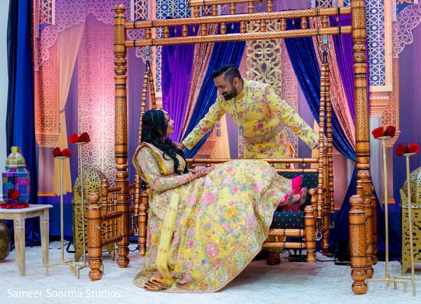 Beautiful bride posing with groom