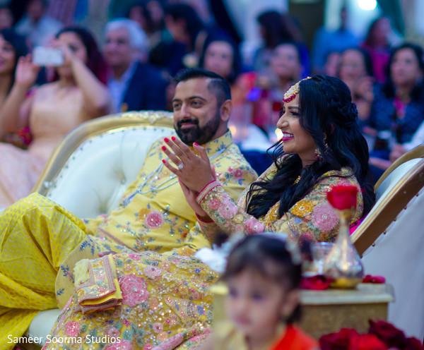 Joyful couple during speeches