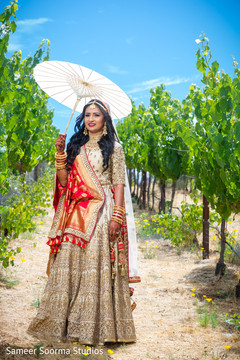 Sweet indian bride posing for the camera
