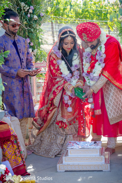 Indian couple during wedding rituals