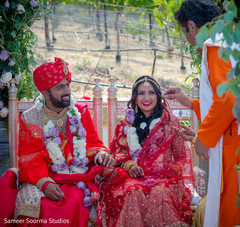 Joyful indian couple during their wedding ceremony