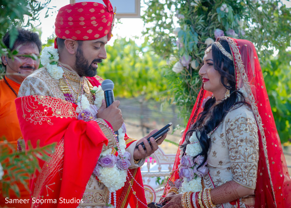 Indian groom reciting his vows