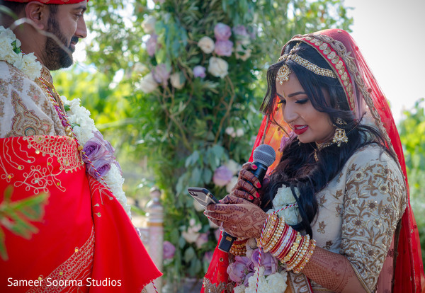 Indian bride reciting her vows