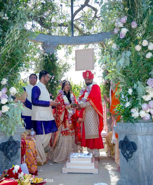 Indian couple under beautiful gazebo