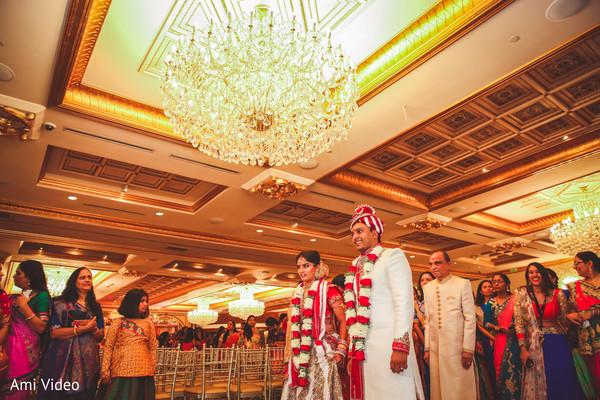Joyful Indian couple during wedding ceremony.