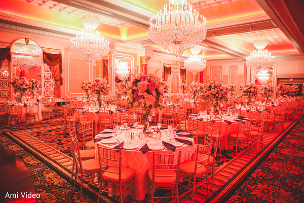 Marvelous Indian wedding reception lights decor.