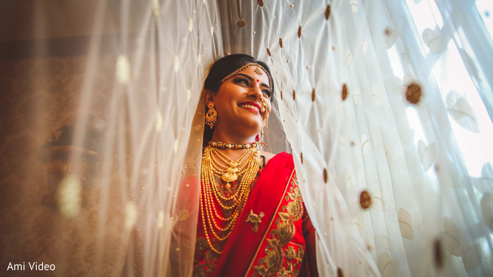 Lovely Indian bride smile capture.
