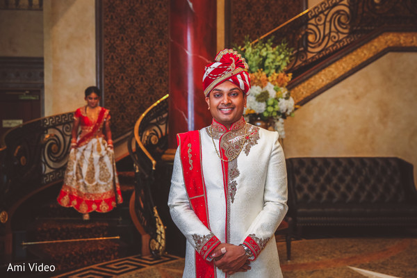 Indian bride about to meet the groom.