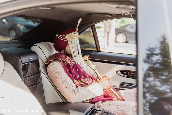 Indian groom inside of his ride