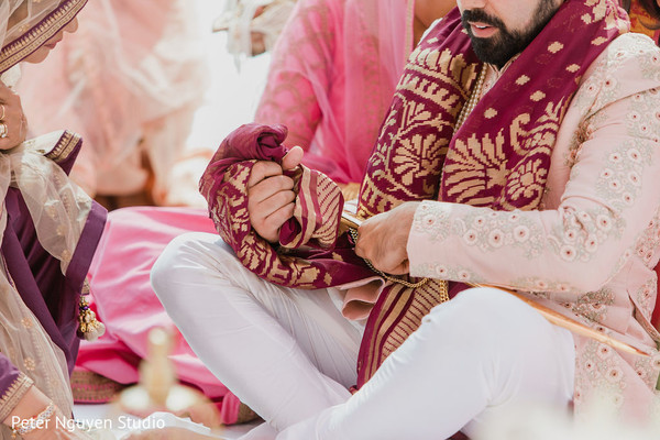 Detail of Indian groom during the ceremony
